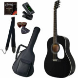 Sepia Crue / JG-10 BK(ブラック) 【シンプル8点入門セット】 セピアクルー アコースティックギター フォークギター アコギ 入門 初心者 (/+811185200) 商品画像