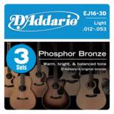 D'Addario / Phosphor Bronze EJ16-3D Light 12-53 (3set pack)  ダダリオ アコギ弦 アコースティックギター弦 商品画像