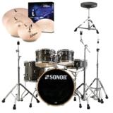 SONOR ソナー / SN-AQ1SG WGB ウッドグレインブラック ドラムセット AQ1 Stage Set 22BD  ZILDJIAN iシリーズシンバル付きパック 商品画像